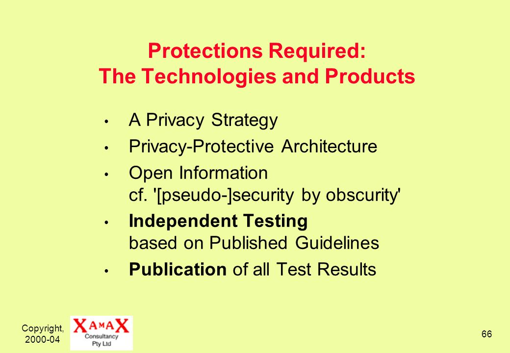 Copyright, 2000-04 66 Protections Required: The Technologies and Products A Privacy Strategy Privacy-Protective Architecture Open Information cf. '[ps