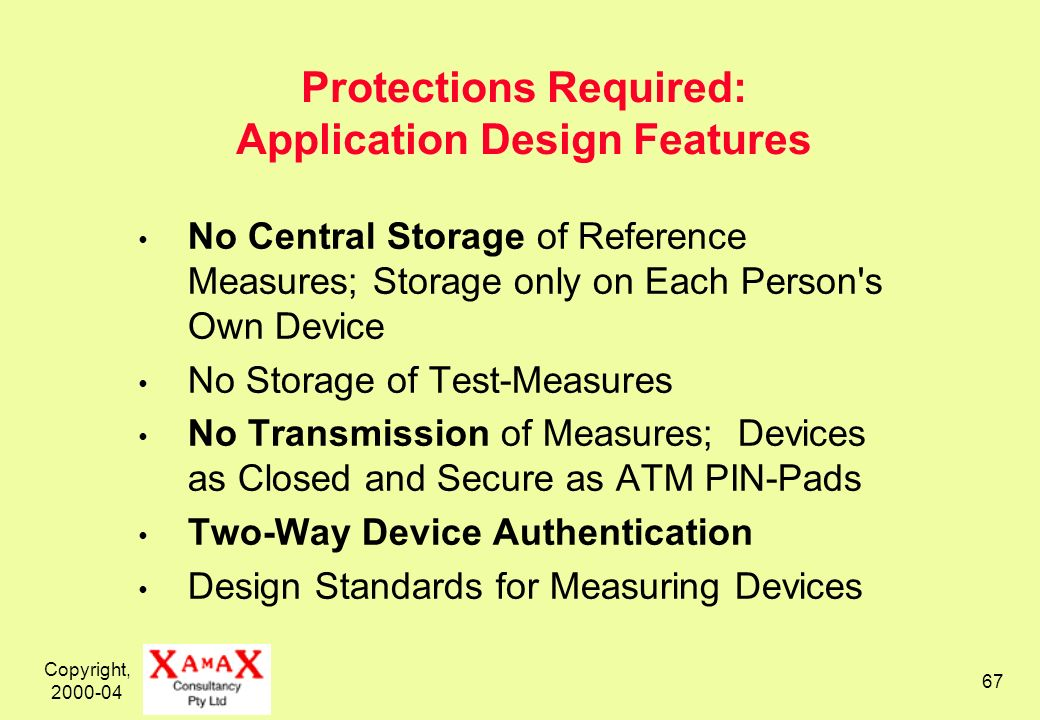 Copyright, 2000-04 67 Protections Required: Application Design Features No Central Storage of Reference Measures; Storage only on Each Person's Own De