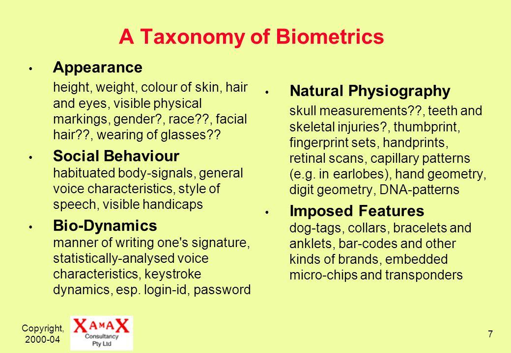 Copyright, 2000-04 8 Available Biometrics Technologies Variously Dormant or Extinct Cranial Measures Face Thermograms Veins (hands, earlobes) Retinal Scan Handprint Written Signature Keystroke Dynamics Skin Optical Reflectance...