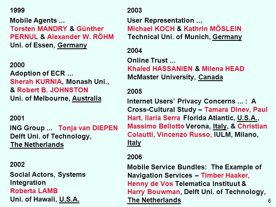 6 1999 Mobile Agents... Torsten MANDRY & Günther PERNUL & Alexander W.