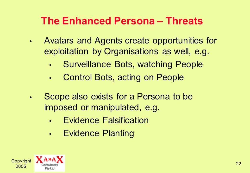 Copyright The Enhanced Persona – Threats Avatars and Agents create opportunities for exploitation by Organisations as well, e.g.