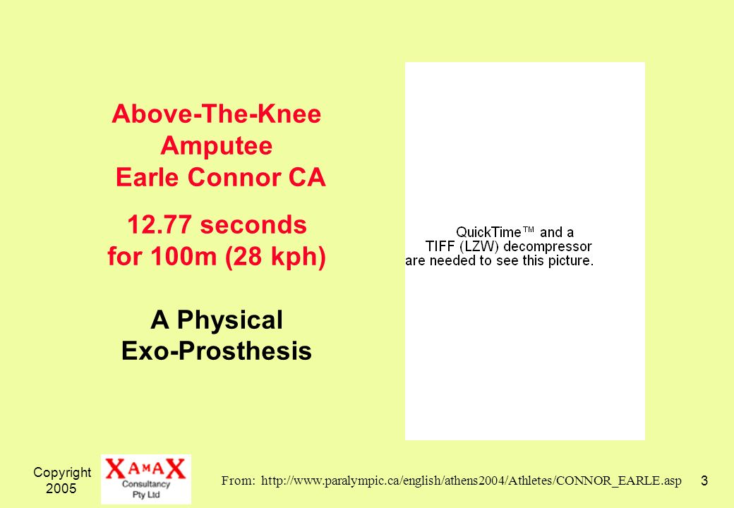 Copyright Above-The-Knee Amputee Earle Connor CA seconds for 100m (28 kph) A Physical Exo-Prosthesis From:
