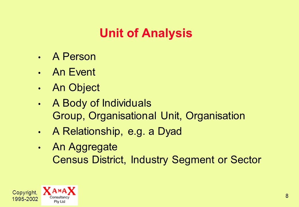 Copyright, 1995-2002 8 Unit of Analysis A Person An Event An Object A Body of Individuals Group, Organisational Unit, Organisation A Relationship, e.g.