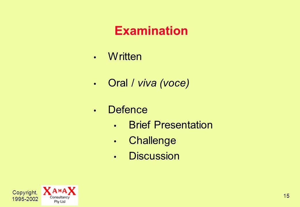 Copyright, 1995-2002 15 Examination Written Oral / viva (voce) Defence Brief Presentation Challenge Discussion