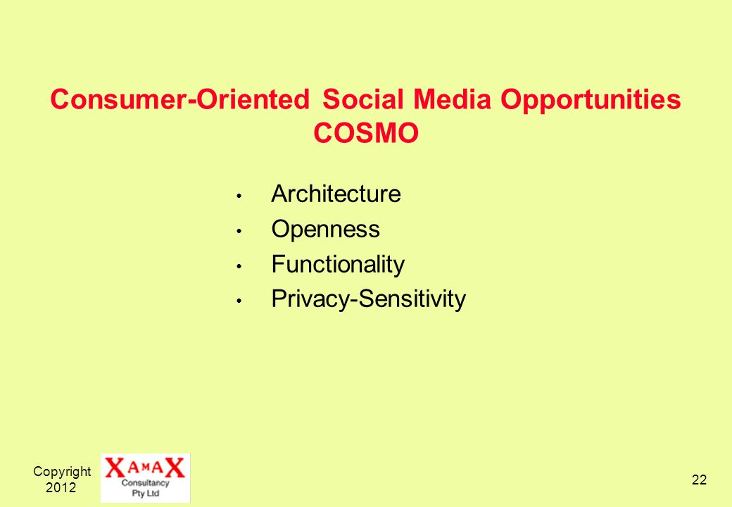 Copyright 2012 22 Consumer-Oriented Social Media Opportunities COSMO Architecture Openness Functionality Privacy-Sensitivity