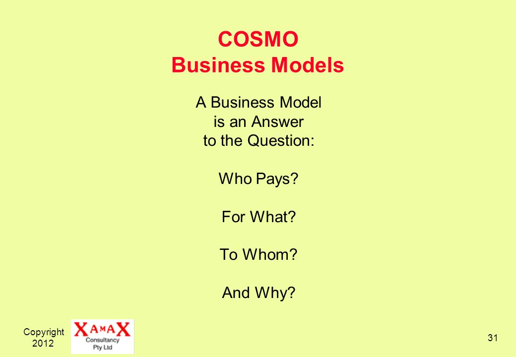 Copyright 2012 31 COSMO Business Models A Business Model is an Answer to the Question: Who Pays.