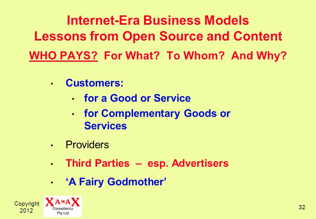 Copyright 2012 32 Internet-Era Business Models Lessons from Open Source and Content WHO PAYS.