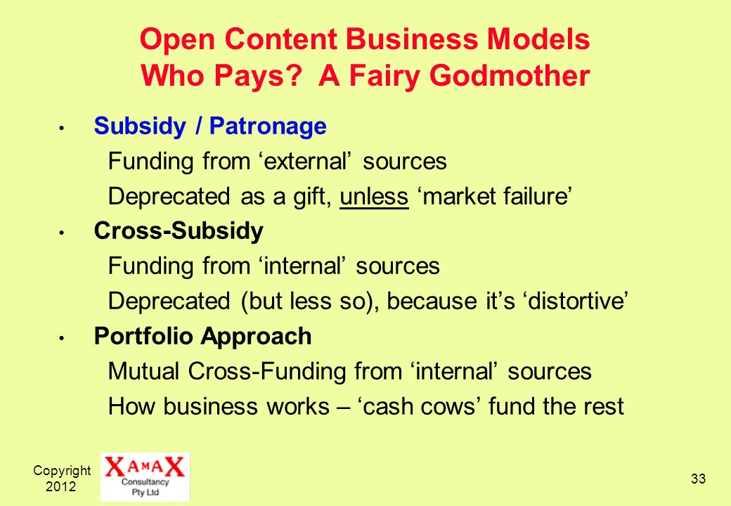 Copyright 2012 33 Open Content Business Models Who Pays.