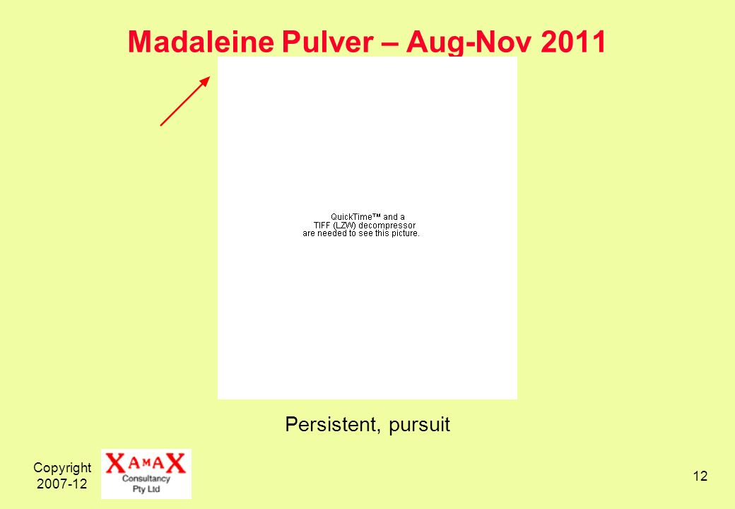 Copyright 2007-12 12 Madaleine Pulver – Aug-Nov 2011 Persistent, pursuit