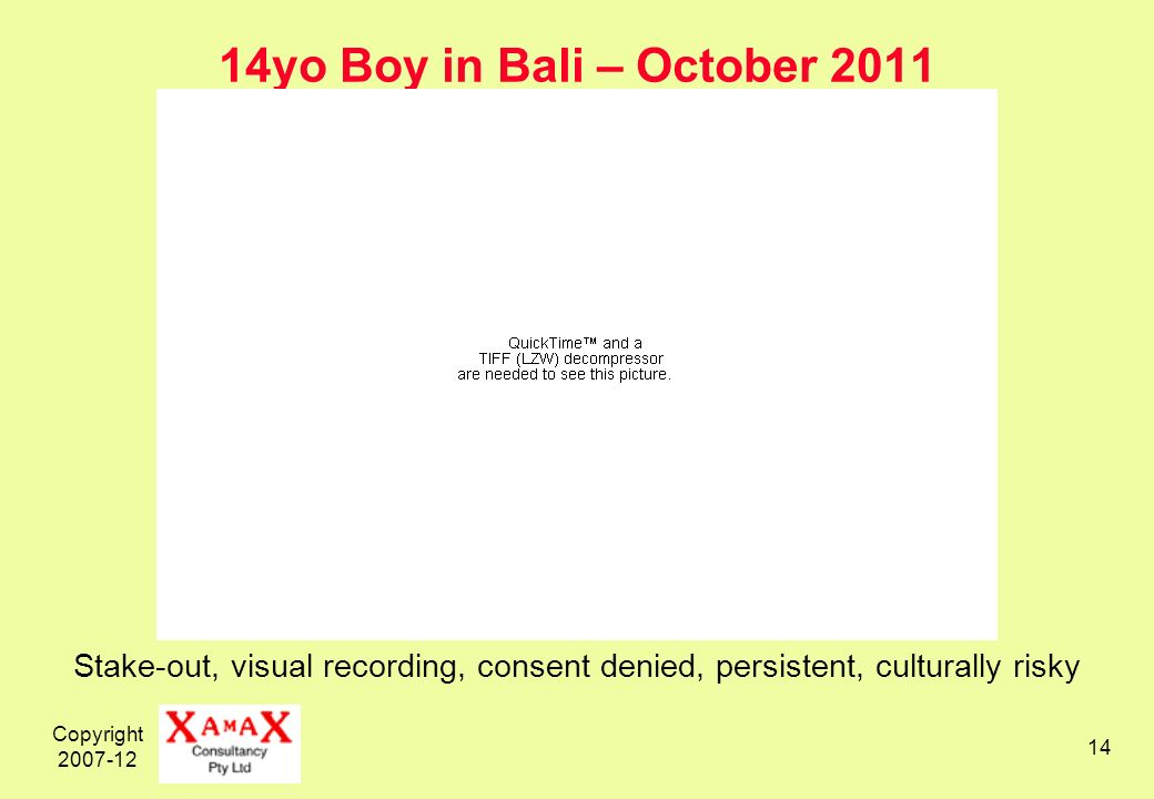 Copyright 2007-12 14 14yo Boy in Bali – October 2011 Stake-out, visual recording, consent denied, persistent, culturally risky