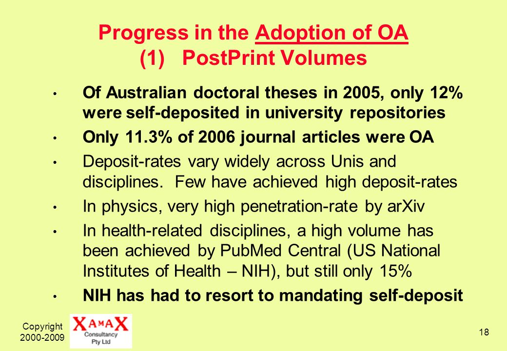 Copyright 2000-2009 18 Progress in the Adoption of OA (1) PostPrint Volumes Of Australian doctoral theses in 2005, only 12% were self-deposited in uni