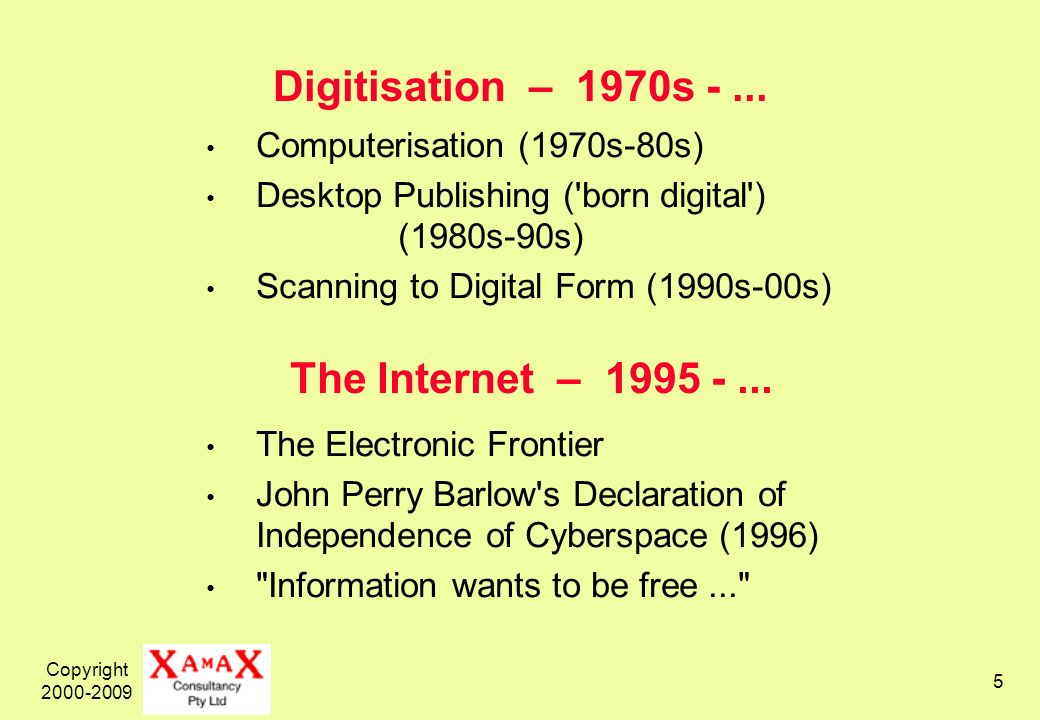Copyright 2000-2009 5 Digitisation – 1970s -... Computerisation (1970s-80s) Desktop Publishing ('born digital') (1980s-90s) Scanning to Digital Form (