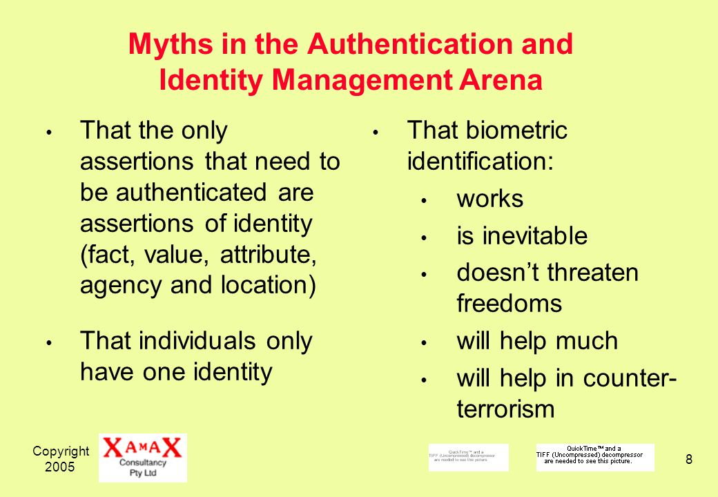 Copyright Myths in the Authentication and Identity Management Arena That the only assertions that need to be authenticated are assertions of identity (fact, value, attribute, agency and location) That individuals only have one identity That biometric identification: works is inevitable doesnt threaten freedoms will help much will help in counter- terrorism