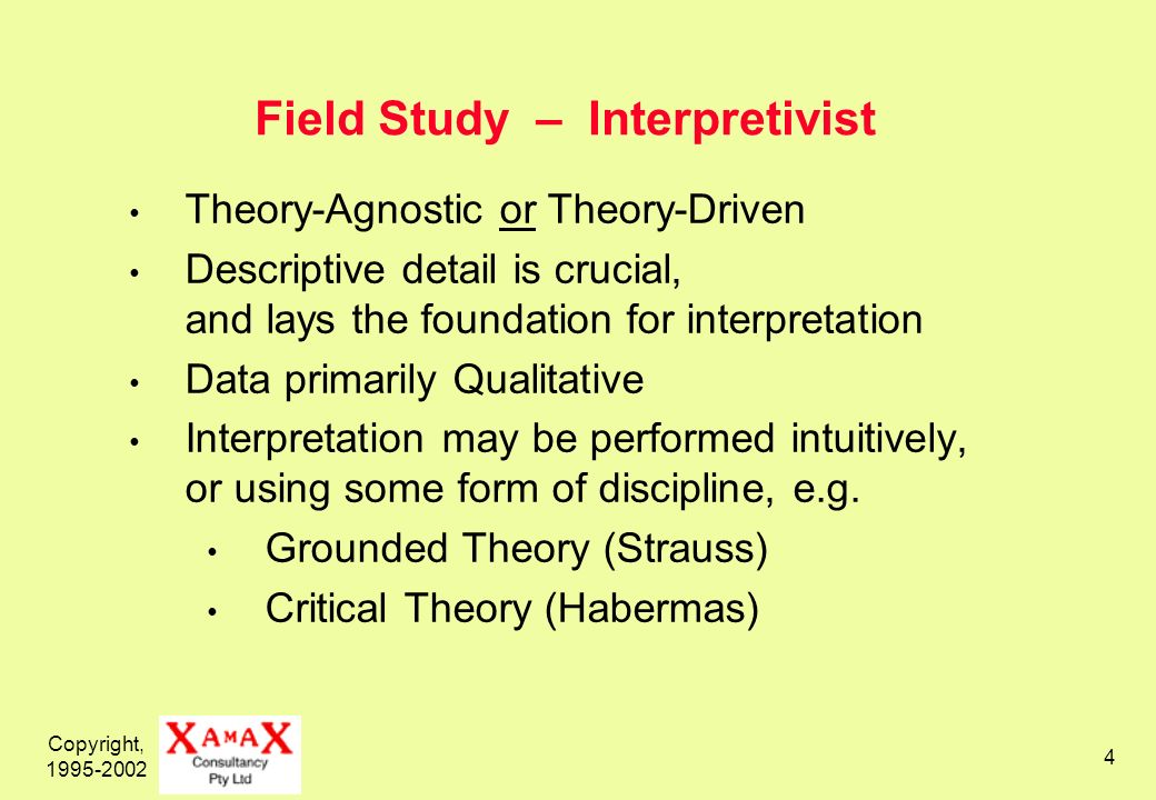 Copyright, 1995-2002 4 Field Study – Interpretivist Theory-Agnostic or Theory-Driven Descriptive detail is crucial, and lays the foundation for interp