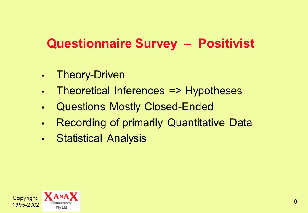 Copyright, 1995-2002 6 Questionnaire Survey – Positivist Theory-Driven Theoretical Inferences => Hypotheses Questions Mostly Closed-Ended Recording of