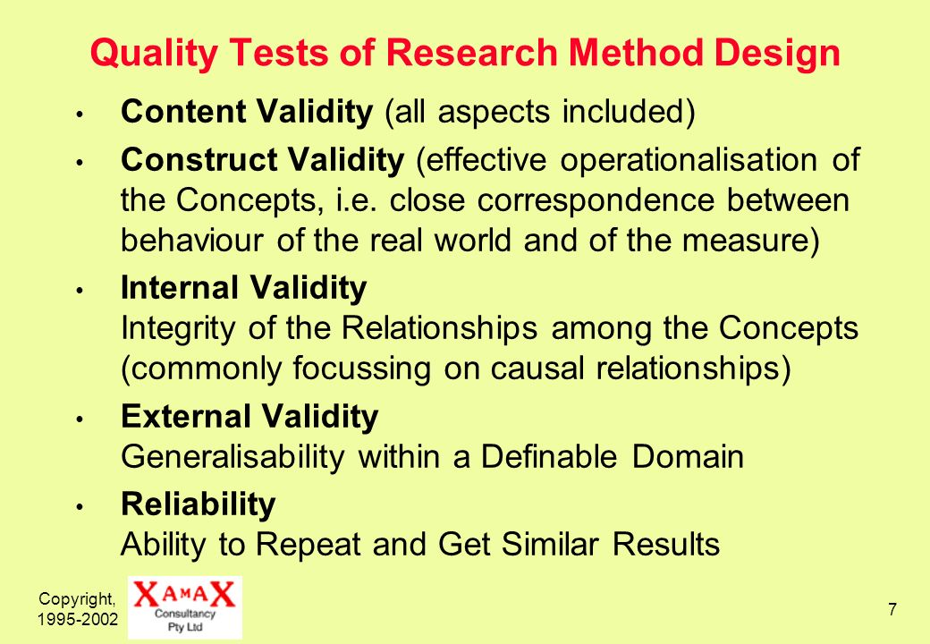 Copyright, 1995-2002 7 Quality Tests of Research Method Design Content Validity (all aspects included) Construct Validity (effective operationalisatio