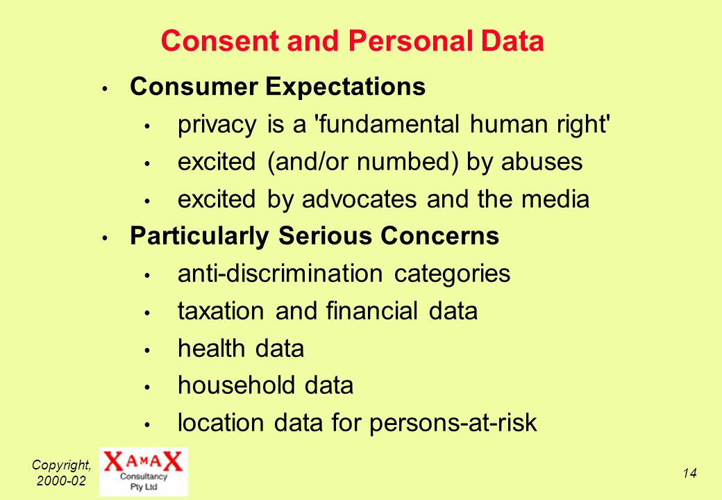 Copyright, 2000-02 14 Consent and Personal Data Consumer Expectations privacy is a fundamental human right excited (and/or numbed) by abuses excited by advocates and the media Particularly Serious Concerns anti-discrimination categories taxation and financial data health data household data location data for persons-at-risk