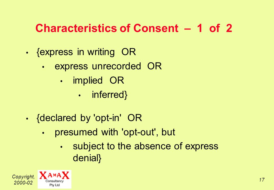 Copyright, 2000-02 17 Characteristics of Consent – 1 of 2 {express in writing OR express unrecorded OR implied OR inferred} {declared by opt-in OR presumed with opt-out , but subject to the absence of express denial}