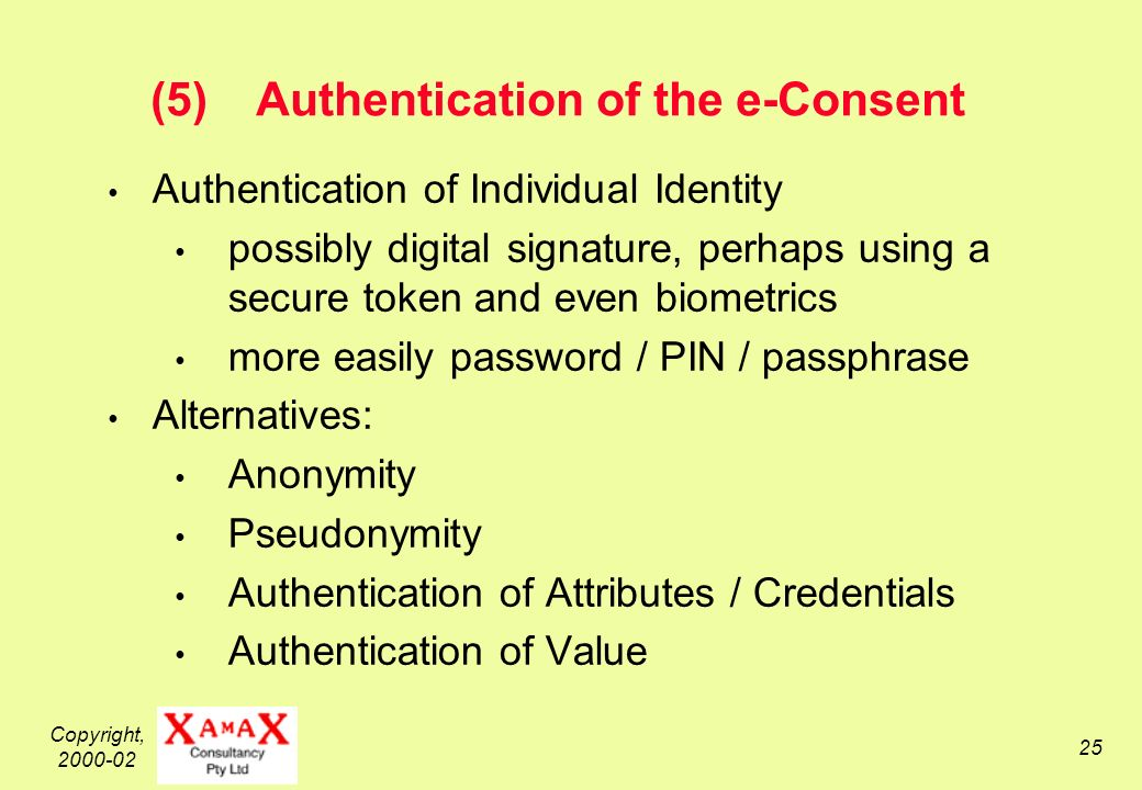 Copyright, 2000-02 25 (5)Authentication of the e-Consent Authentication of Individual Identity possibly digital signature, perhaps using a secure token and even biometrics more easily password / PIN / passphrase Alternatives: Anonymity Pseudonymity Authentication of Attributes / Credentials Authentication of Value