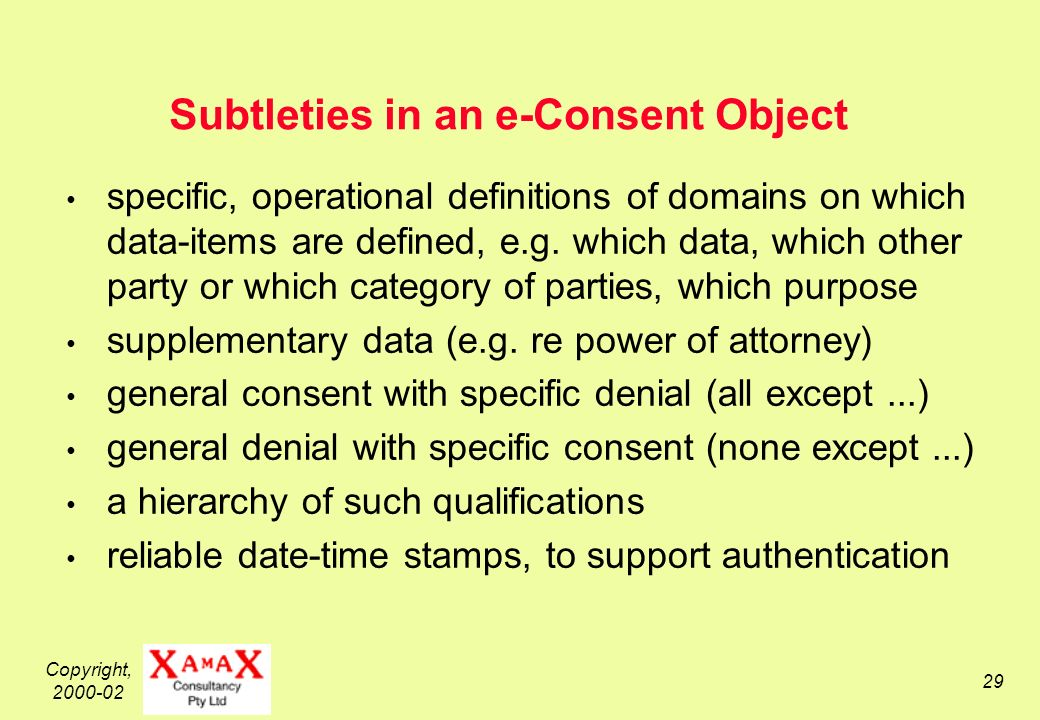 Copyright, 2000-02 29 Subtleties in an e-Consent Object specific, operational definitions of domains on which data-items are defined, e.g.
