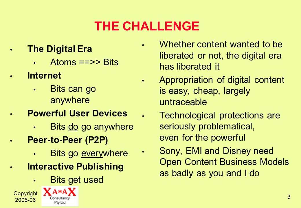 Copyright THE CHALLENGE The Digital Era Atoms ==>> Bits Internet Bits can go anywhere Powerful User Devices Bits do go anywhere Peer-to-Peer (P2P) Bits go everywhere Interactive Publishing Bits get used Whether content wanted to be liberated or not, the digital era has liberated it Appropriation of digital content is easy, cheap, largely untraceable Technological protections are seriously problematical, even for the powerful Sony, EMI and Disney need Open Content Business Models as badly as you and I do