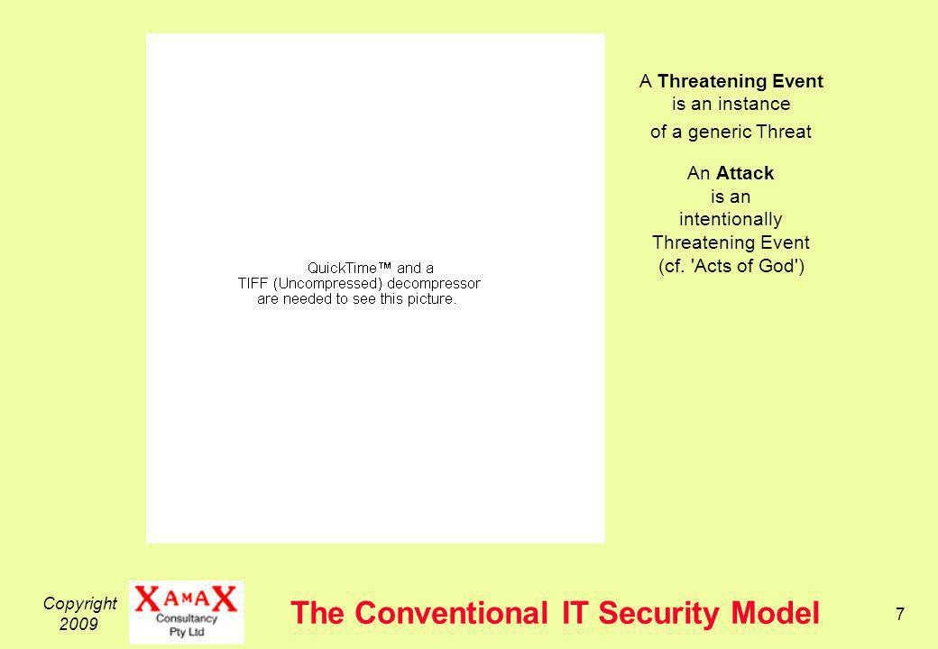 Copyright 2009 7 The Conventional IT Security Model A Threatening Event is an instance of a generic Threat An Attack is an intentionally Threatening Event (cf.