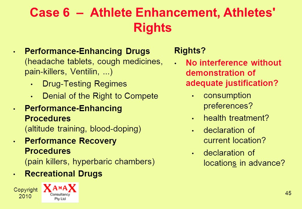 Copyright 2010 45 Case 6 – Athlete Enhancement, Athletes' Rights Performance-Enhancing Drugs (headache tablets, cough medicines, pain-killers, Ventili