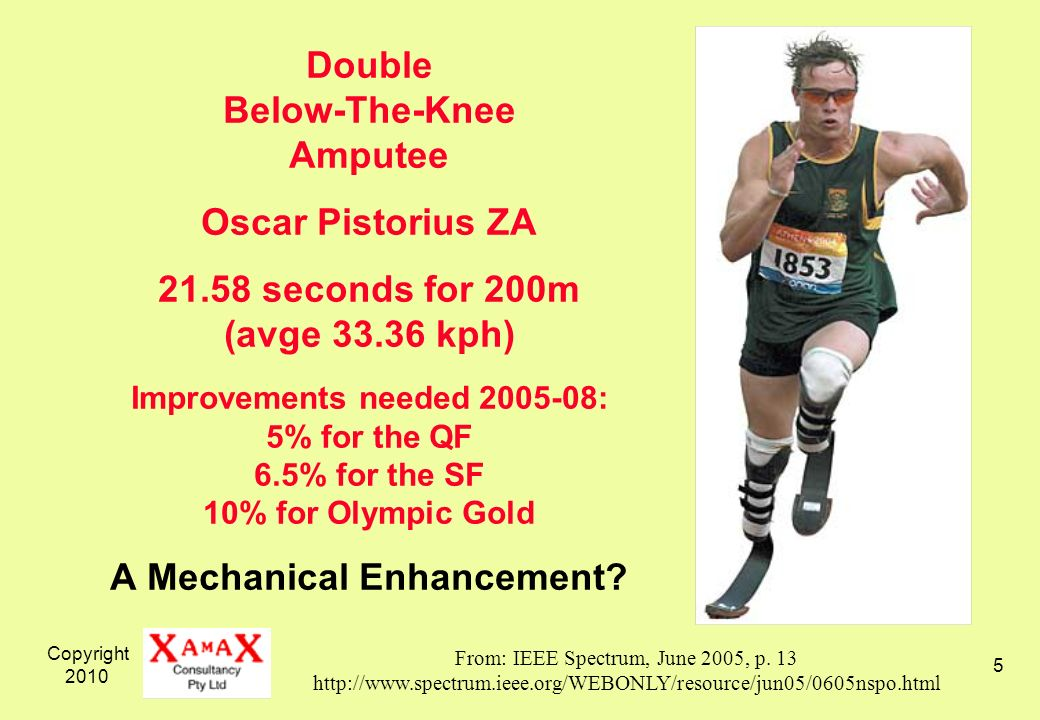 Copyright 2010 5 Double Below-The-Knee Amputee Oscar Pistorius ZA 21.58 seconds for 200m (avge 33.36 kph) Improvements needed 2005-08: 5% for the QF 6