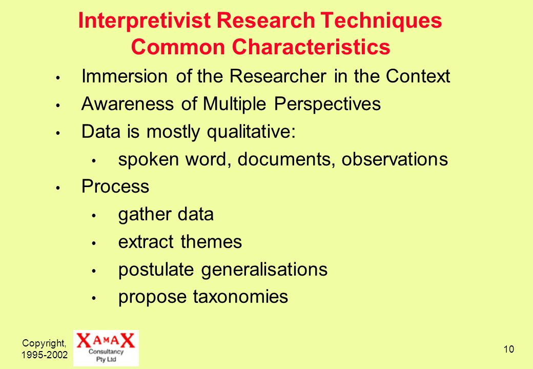 Copyright, Interpretivist Research Techniques Common Characteristics Immersion of the Researcher in the Context Awareness of Multiple Perspectives Data is mostly qualitative: spoken word, documents, observations Process gather data extract themes postulate generalisations propose taxonomies