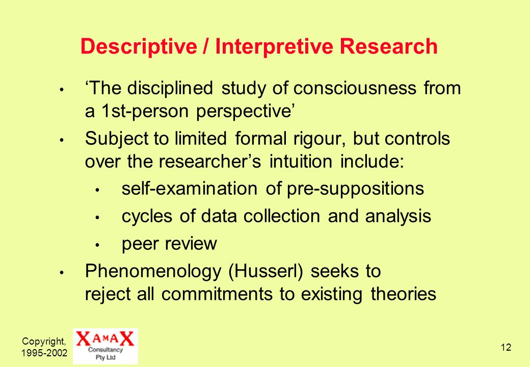 Copyright, 1995-2002 12 Descriptive / Interpretive Research The disciplined study of consciousness from a 1st-person perspective Subject to limited formal rigour, but controls over the researchers intuition include: self-examination of pre-suppositions cycles of data collection and analysis peer review Phenomenology (Husserl) seeks to reject all commitments to existing theories