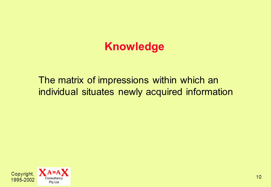 Copyright, 1995-2002 10 Knowledge The matrix of impressions within which an individual situates newly acquired information