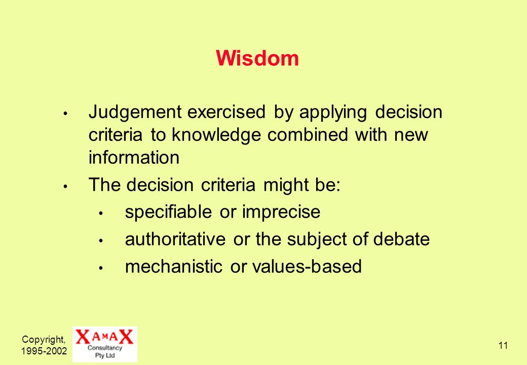 Copyright, 1995-2002 11 Wisdom Judgement exercised by applying decision criteria to knowledge combined with new information The decision criteria might be: specifiable or imprecise authoritative or the subject of debate mechanistic or values-based