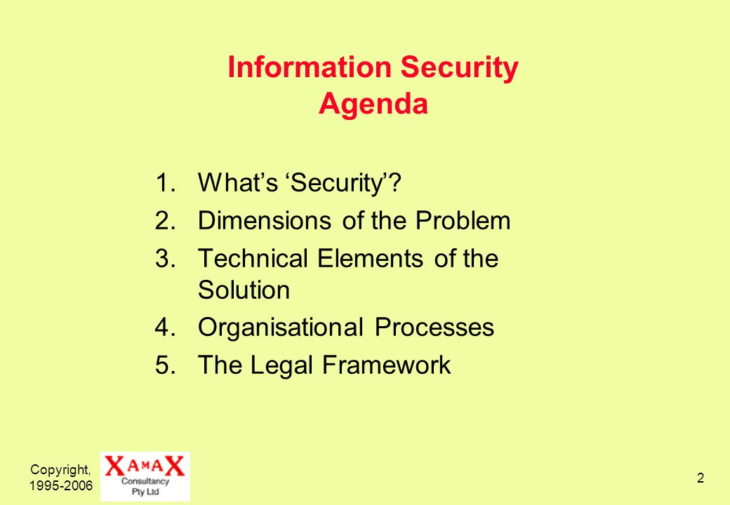 Copyright, 1995-2006 2 Information Security Agenda 1.Whats Security.