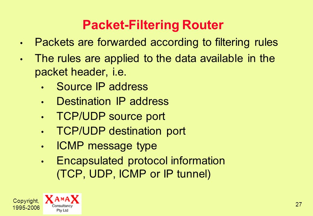 Copyright, 1995-2006 27 Packet-Filtering Router Packets are forwarded according to filtering rules The rules are applied to the data available in the packet header, i.e.