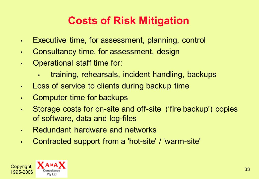 Copyright, 1995-2006 33 Costs of Risk Mitigation Executive time, for assessment, planning, control Consultancy time, for assessment, design Operational staff time for: training, rehearsals, incident handling, backups Loss of service to clients during backup time Computer time for backups Storage costs for on-site and off-site (fire backup) copies of software, data and log-files Redundant hardware and networks Contracted support from a hot-site / warm-site