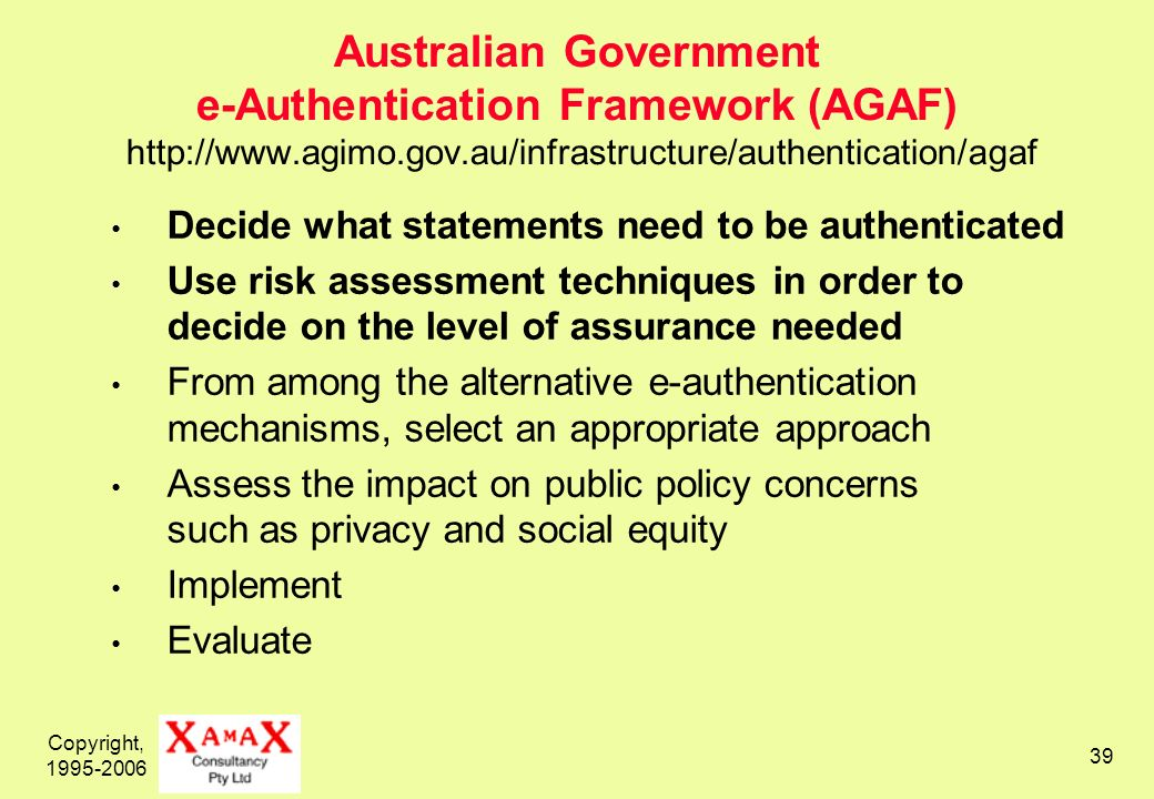 Copyright, 1995-2006 39 Australian Government e-Authentication Framework (AGAF) http://www.agimo.gov.au/infrastructure/authentication/agaf Decide what statements need to be authenticated Use risk assessment techniques in order to decide on the level of assurance needed From among the alternative e-authentication mechanisms, select an appropriate approach Assess the impact on public policy concerns such as privacy and social equity Implement Evaluate