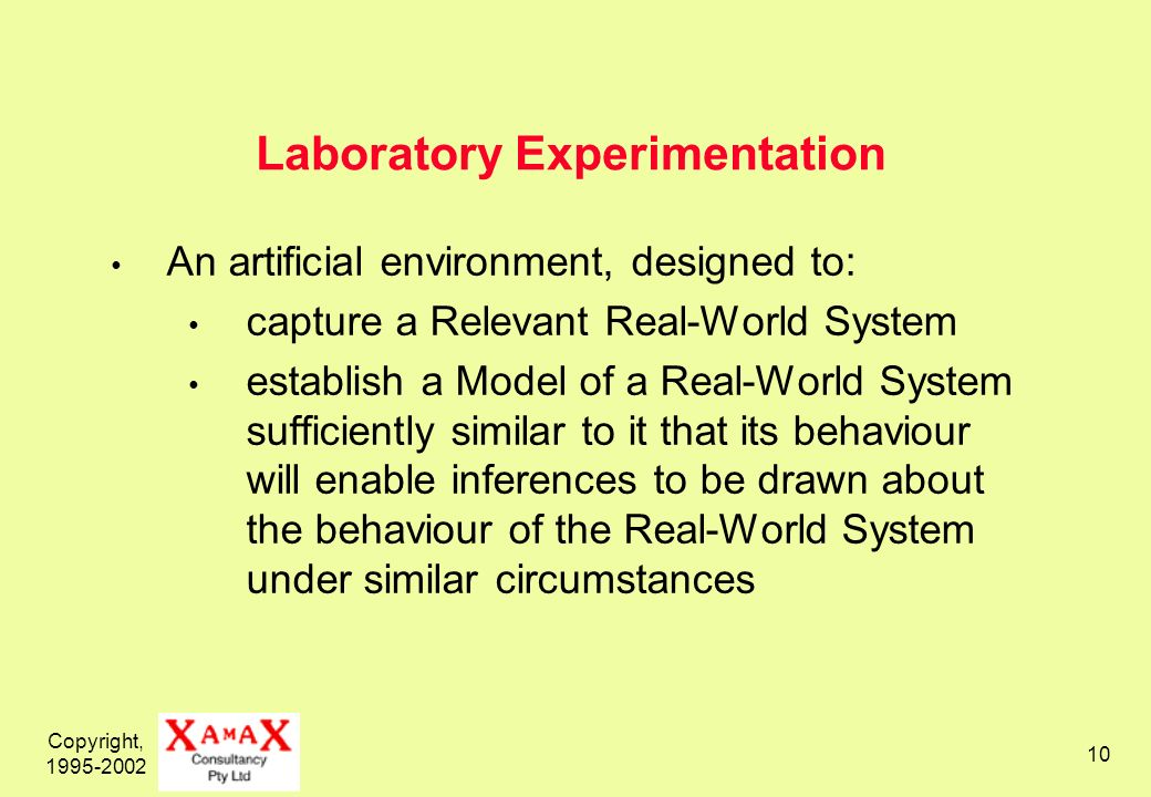 Copyright, 1995-2002 10 Laboratory Experimentation An artificial environment, designed to: capture a Relevant Real-World System establish a Model of a Real-World System sufficiently similar to it that its behaviour will enable inferences to be drawn about the behaviour of the Real-World System under similar circumstances
