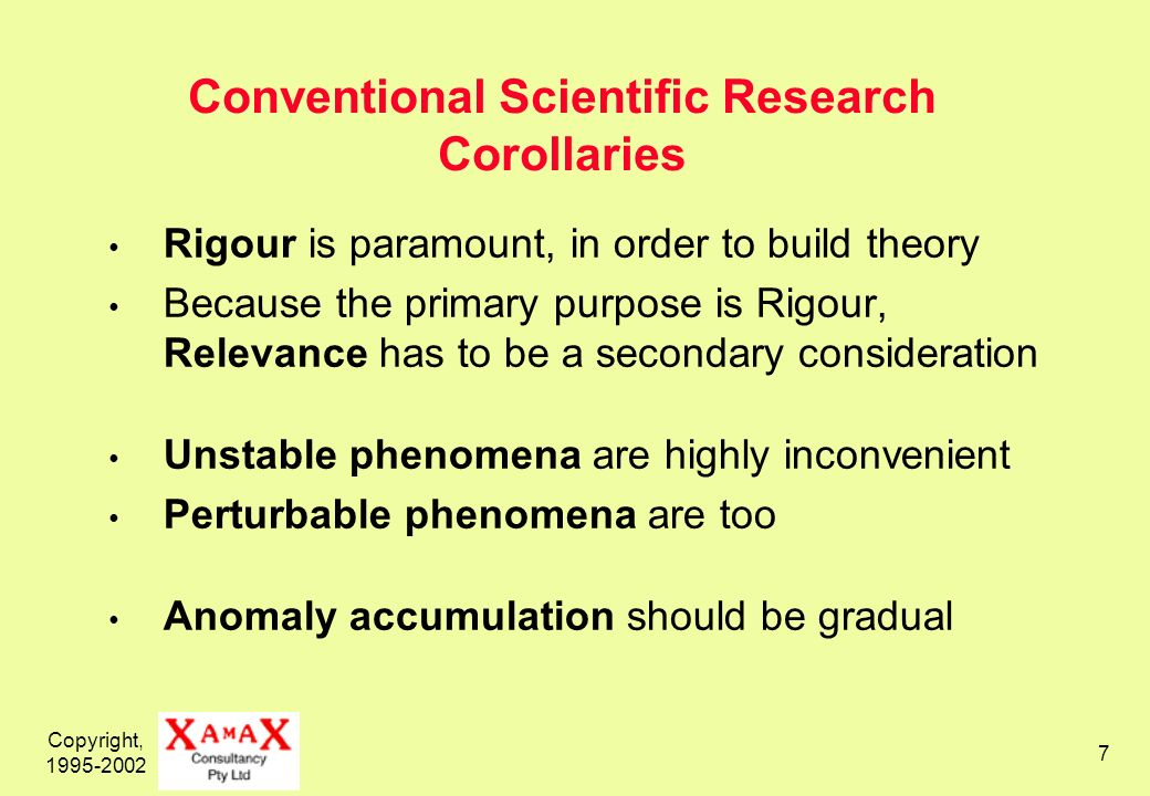 Copyright, 1995-2002 7 Conventional Scientific Research Corollaries Rigour is paramount, in order to build theory Because the primary purpose is Rigour, Relevance has to be a secondary consideration Unstable phenomena are highly inconvenient Perturbable phenomena are too Anomaly accumulation should be gradual