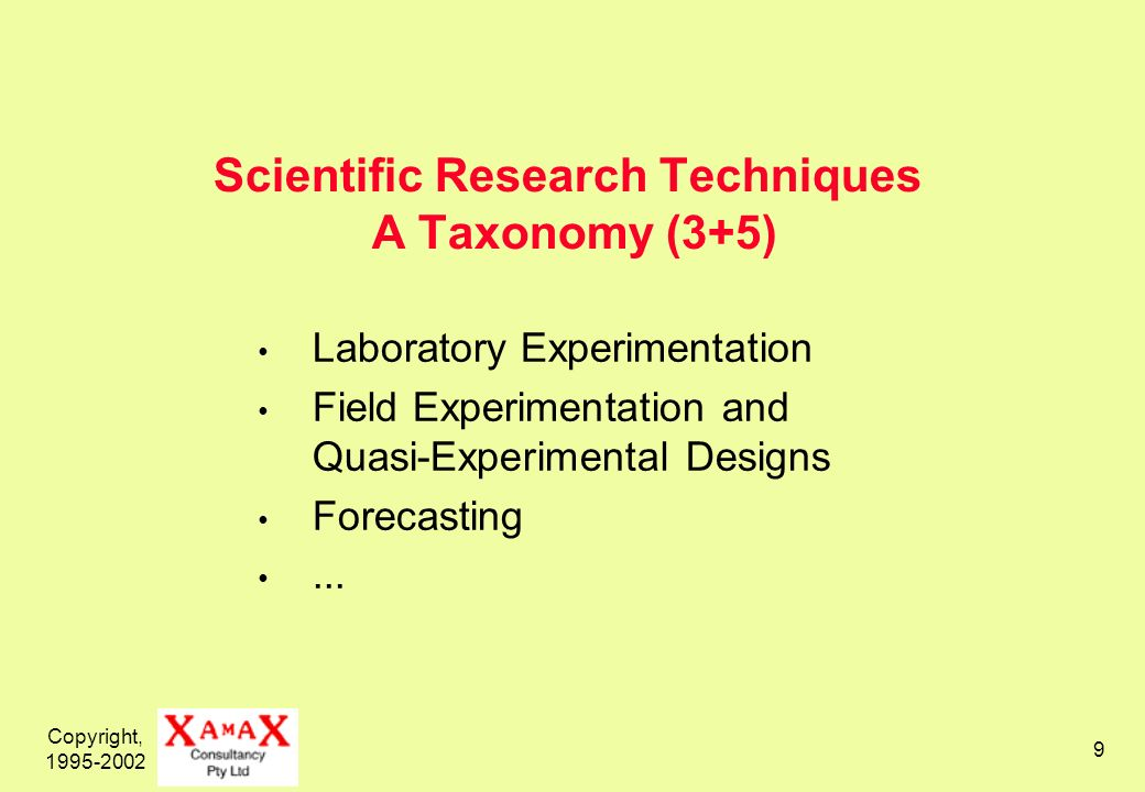 Copyright, 1995-2002 9 Scientific Research Techniques A Taxonomy (3+5) Laboratory Experimentation Field Experimentation and Quasi-Experimental Designs Forecasting...