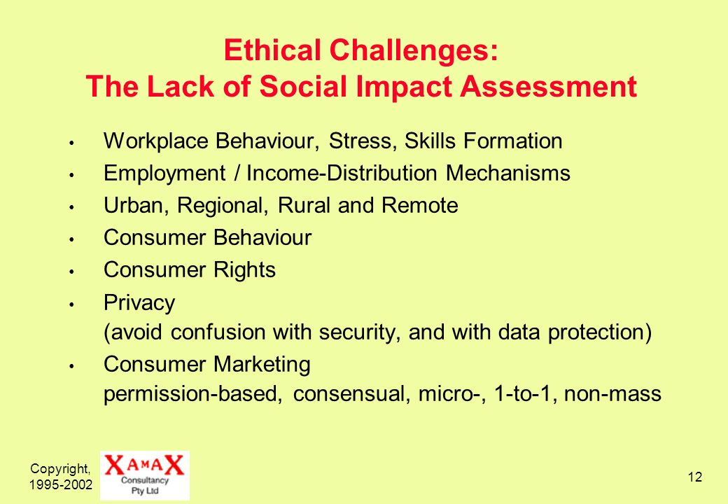 Copyright, 1995-2002 12 Ethical Challenges: The Lack of Social Impact Assessment Workplace Behaviour, Stress, Skills Formation Employment / Income-Dis