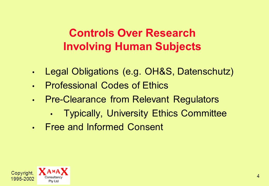 Copyright, 1995-2002 4 Controls Over Research Involving Human Subjects Legal Obligations (e.g. OH&S, Datenschutz) Professional Codes of Ethics Pre-Cle