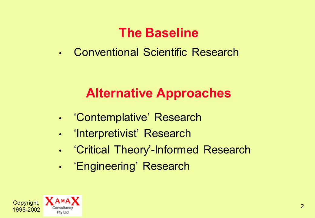 Copyright, 1995-2002 2 The Baseline Alternative Approaches Conventional Scientific Research Contemplative Research Interpretivist Research Critical Th