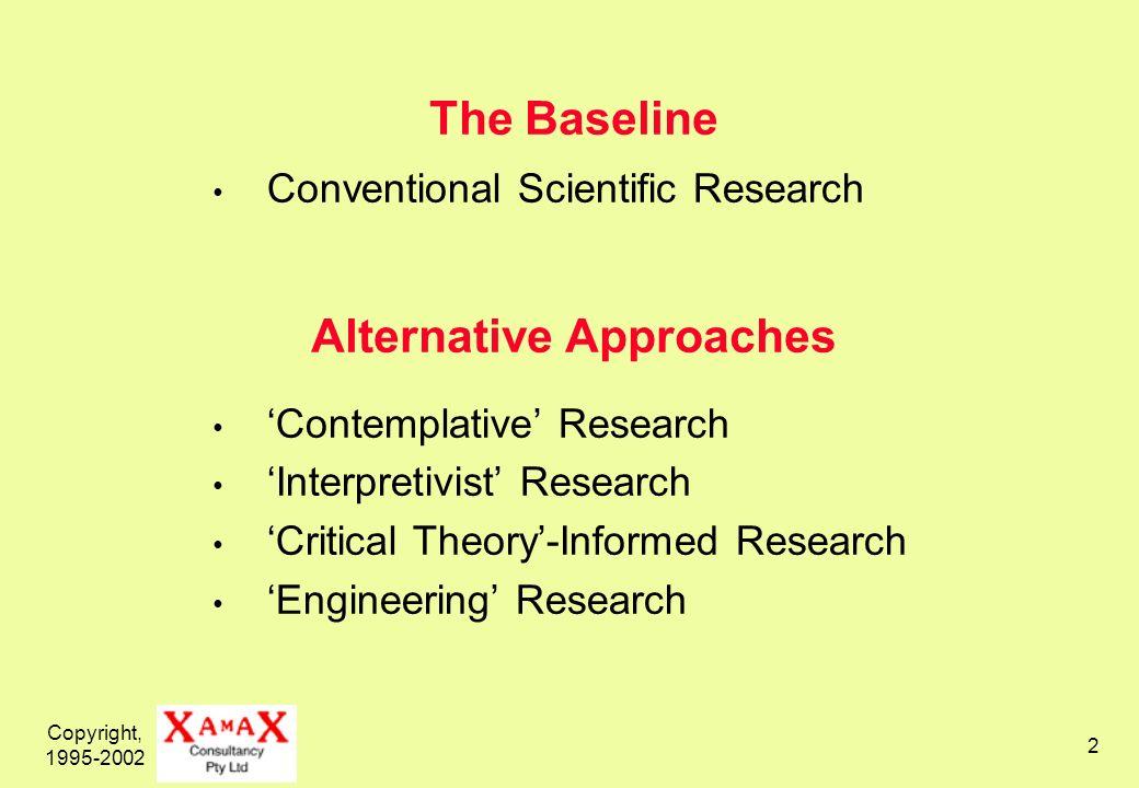 Copyright, 1995-2002 3 Contemplative Research Idealistic, i.e.