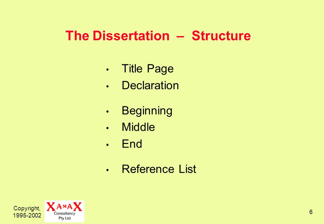 Copyright, 1995-2002 7 The Dissertation – Formal Requirements Title Page Declaration Format and Style Numbering Citation Style Bibliographic Style