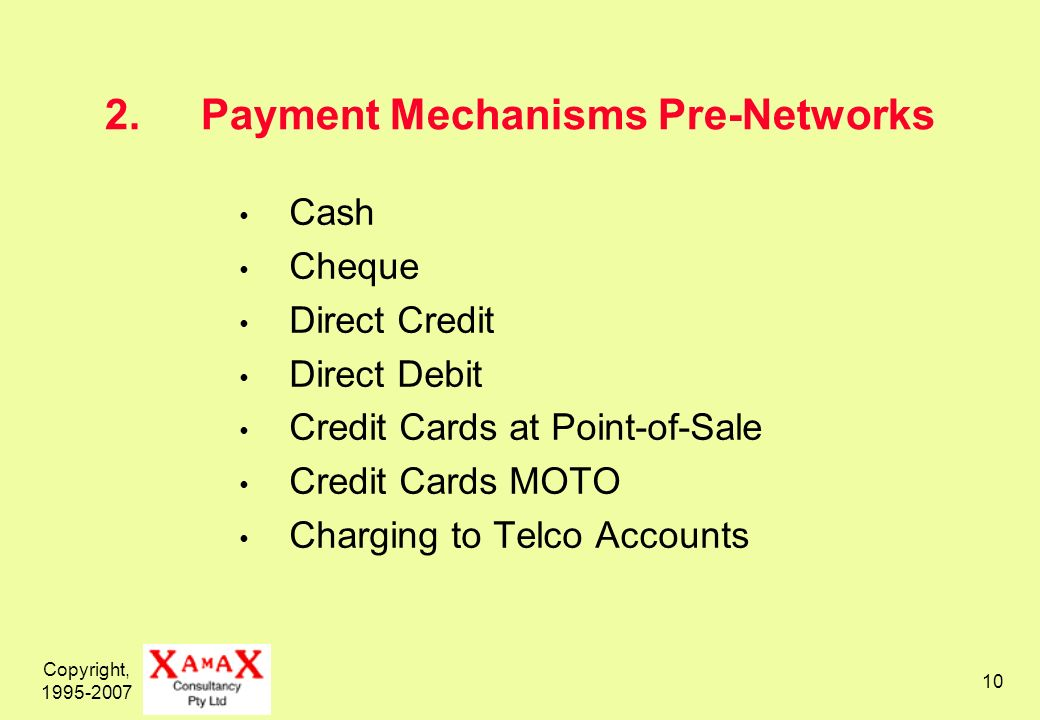 Copyright, Payment Mechanisms Pre-Networks Cash Cheque Direct Credit Direct Debit Credit Cards at Point-of-Sale Credit Cards MOTO Charging to Telco Accounts
