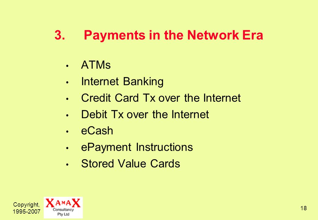 Copyright, Payments in the Network Era ATMs Internet Banking Credit Card Tx over the Internet Debit Tx over the Internet eCash ePayment Instructions Stored Value Cards
