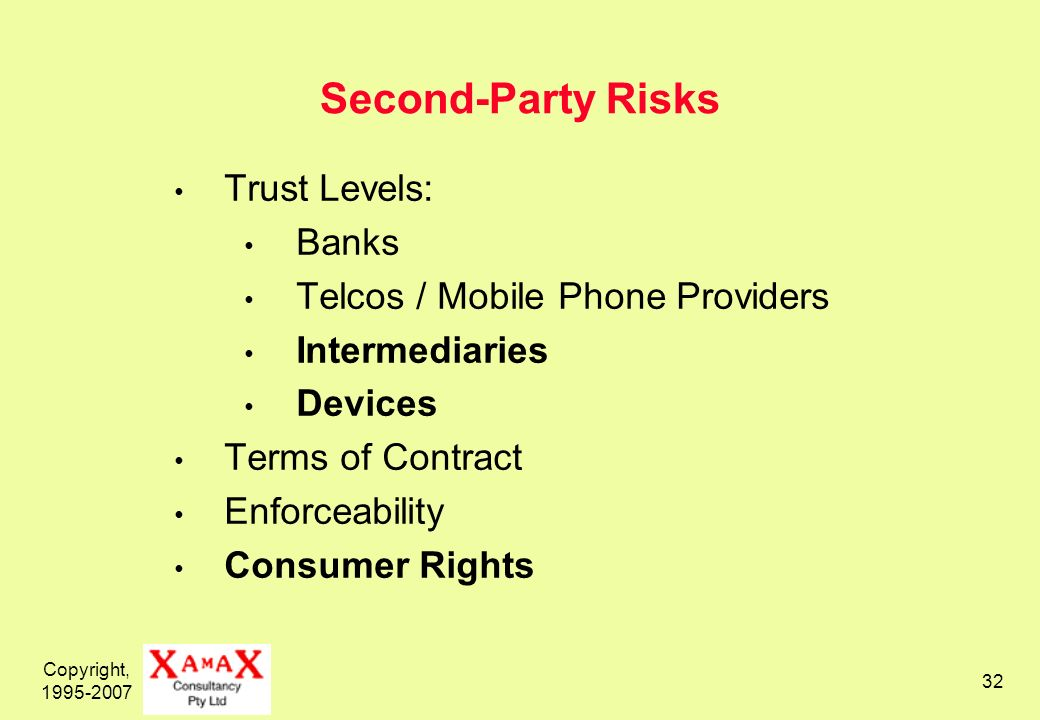 Copyright, Second-Party Risks Trust Levels: Banks Telcos / Mobile Phone Providers Intermediaries Devices Terms of Contract Enforceability Consumer Rights