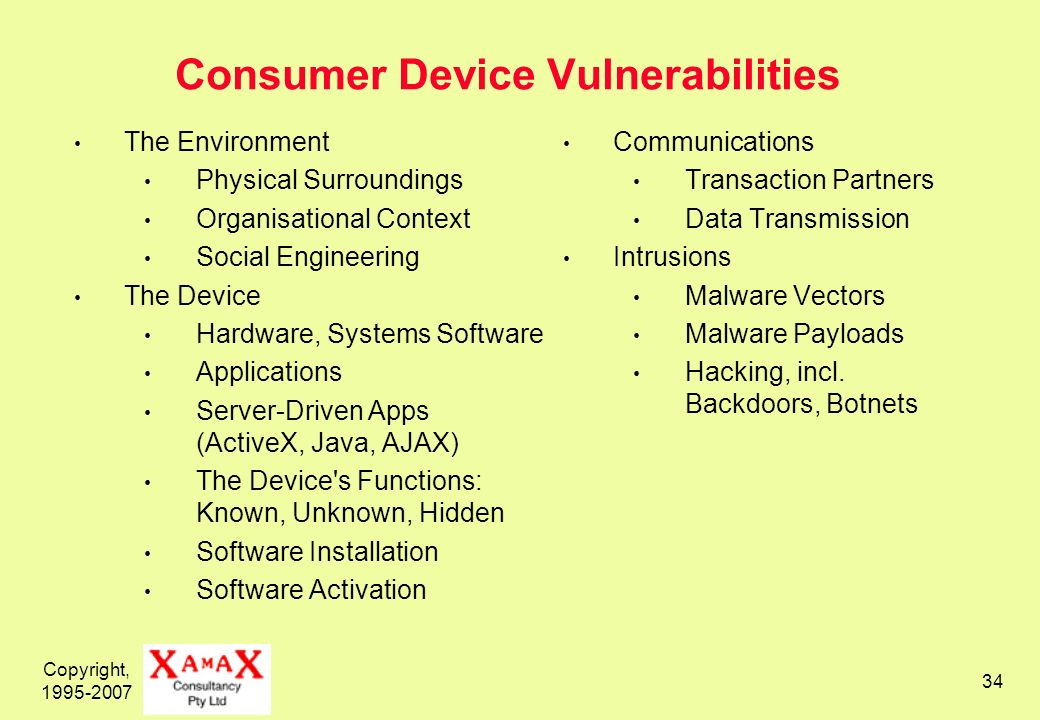Copyright, Consumer Device Vulnerabilities The Environment Physical Surroundings Organisational Context Social Engineering The Device Hardware, Systems Software Applications Server-Driven Apps (ActiveX, Java, AJAX) The Device s Functions: Known, Unknown, Hidden Software Installation Software Activation Communications Transaction Partners Data Transmission Intrusions Malware Vectors Malware Payloads Hacking, incl.