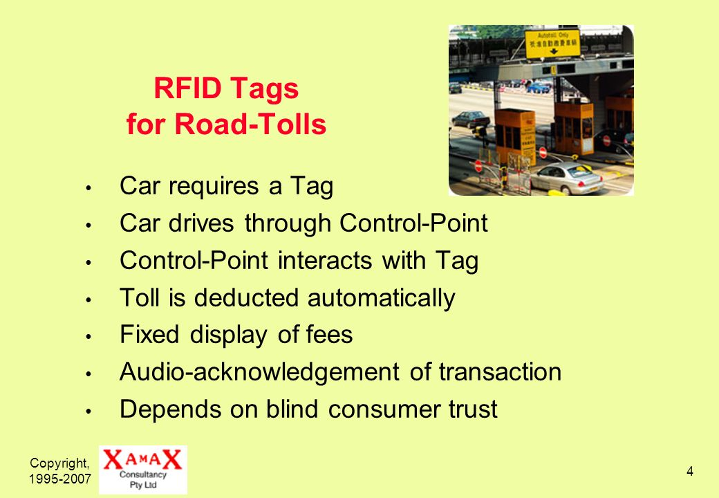 Copyright, RFID Tags for Road-Tolls Car requires a Tag Car drives through Control-Point Control-Point interacts with Tag Toll is deducted automatically Fixed display of fees Audio-acknowledgement of transaction Depends on blind consumer trust