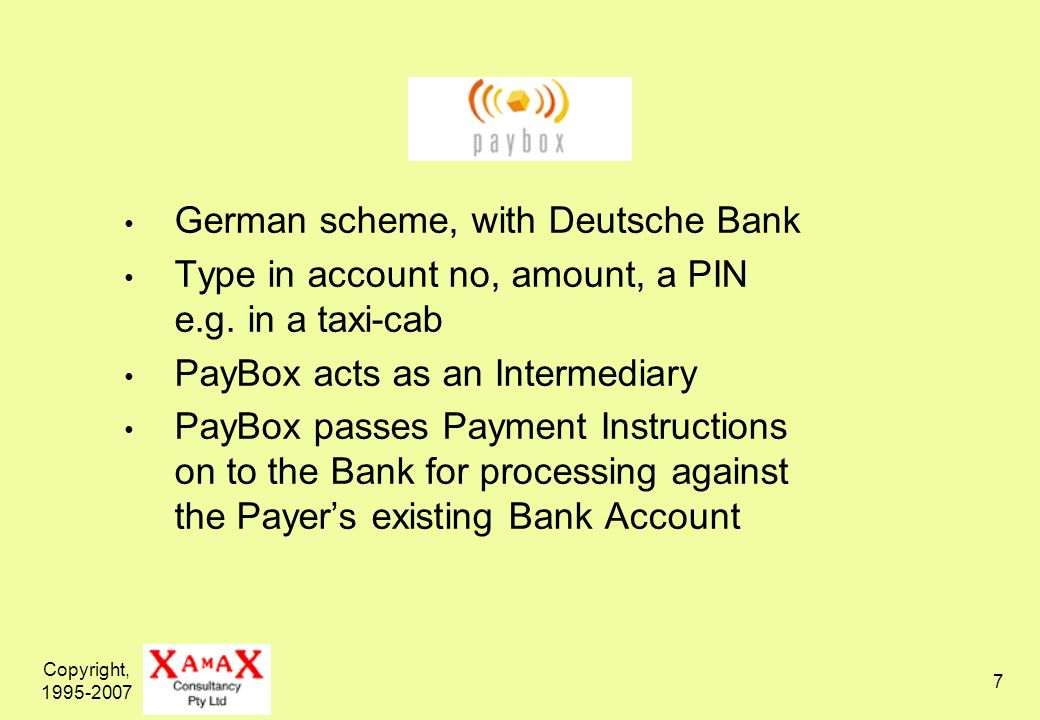 Copyright, German scheme, with Deutsche Bank Type in account no, amount, a PIN e.g.